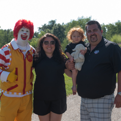 The VanPoppelen family with Ronald McDonald